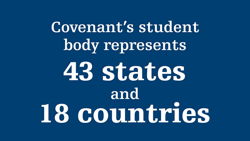 Covenant's student body represents 42 states and 29 countries